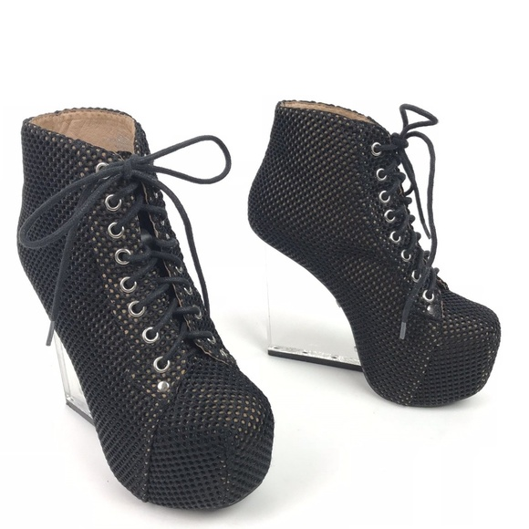 watch ae0af 98f21 Jeffrey Campbell Boots Black Dina Mesh Lucite
